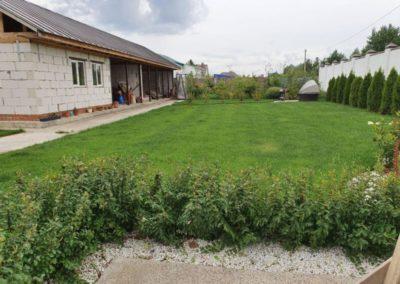 Прочесывание газона на участке в поселке Щербаково